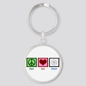 Peace Love Science Round Keychain