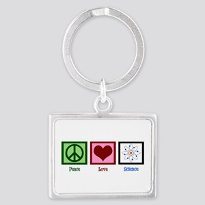 Peace Love Science Landscape Keychain