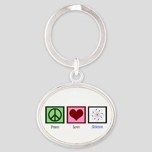 Peace Love Science Oval Keychain