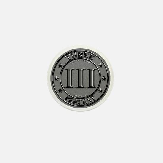 Three Percent Silver Mini Button