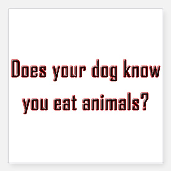 """Does your dog know? Square Car Magnet 3"""" x 3"""""""