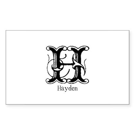 Hayden: Fancy Monogram Rectangle Sticker