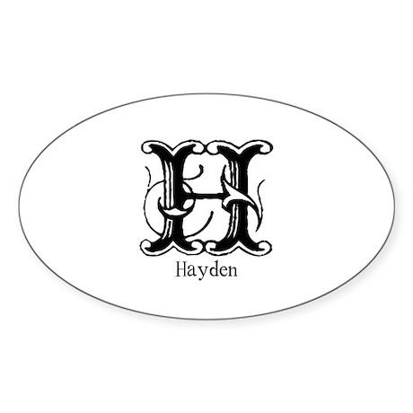Hayden: Fancy Monogram Oval Sticker