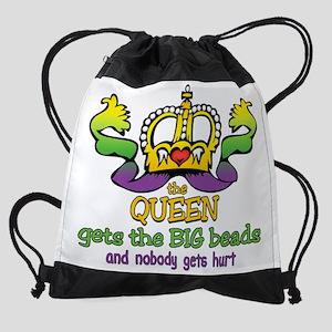 HeartCrownQueenBigBeadsTR Drawstring Bag