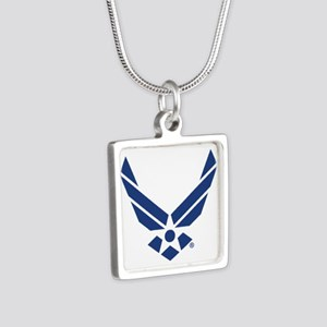 U.S. Air Force Logo Silver Square Necklace