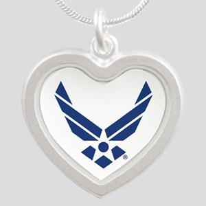 U.S. Air Force Logo Silver Heart Necklace