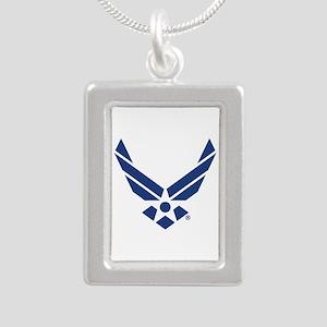 U.S. Air Force Logo Silver Portrait Necklace