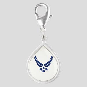 U.S. Air Force Logo Silver Teardrop Charm