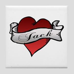 Jack Tattoo Heart Tile Coaster