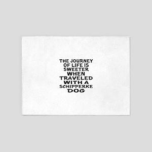Traveled With Schipperke Dog Design 5'x7'Area Rug