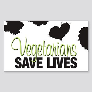 Vegetarians Save Lives Rectangle Sticker