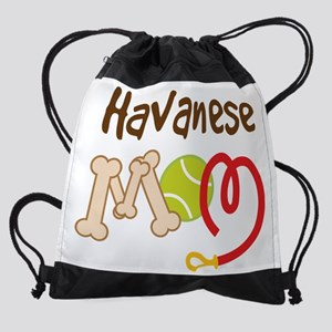 havanese mom leash Drawstring Bag