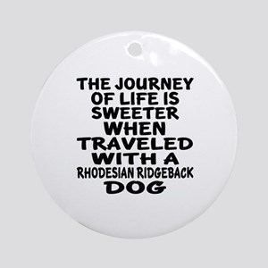 Traveled With Rhodesian Ridgeback D Round Ornament