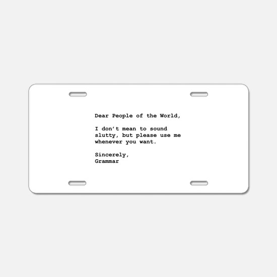 Use Grammar Aluminum License Plate