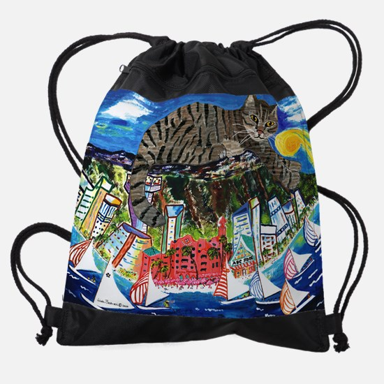 Tabby on Diamond Head .jpg Drawstring Bag