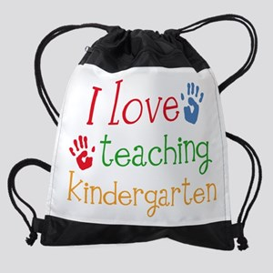 love teaching kindergarten handprin Drawstring Bag