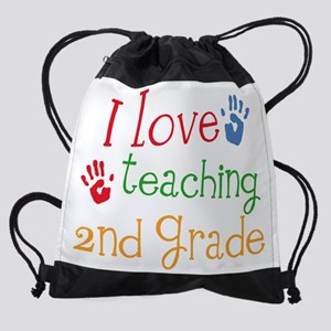 love teaching 2nd grade handprintmu Drawstring Bag