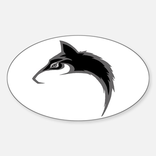 Black Wolf Oval Decal