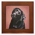 Black Labrador Retriever Portrait Framed Tile