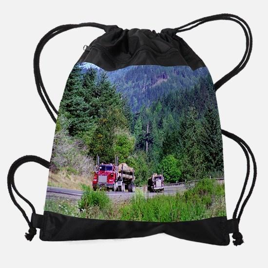 hauling logs  1159 14 0007 Drawstring Bag