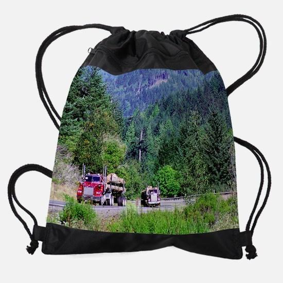 hauling logs  0958 14 0007 Drawstring Bag