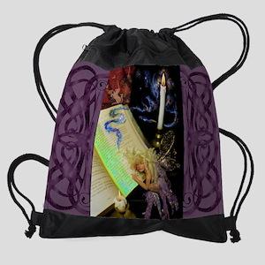 calendar_Bell_Book_Candle Drawstring Bag
