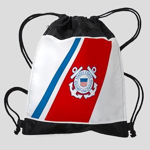 2-USCG-Racing-Stripe Drawstring Bag