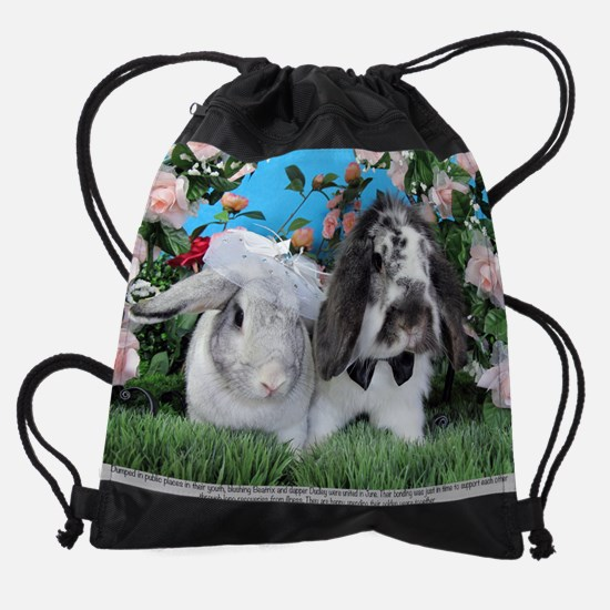 Wedding Bunnies, Beatrix and Dudley Drawstring Bag