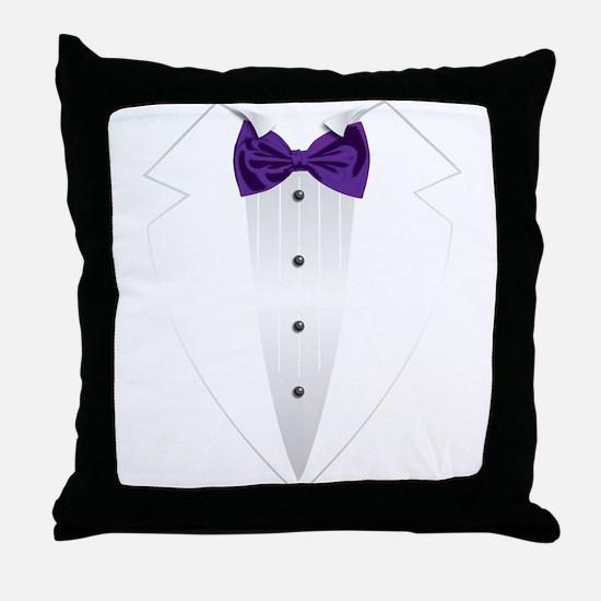 Tuxedo (violet) Throw Pillow