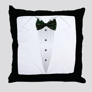 Tuxedo (woodland camo) Throw Pillow