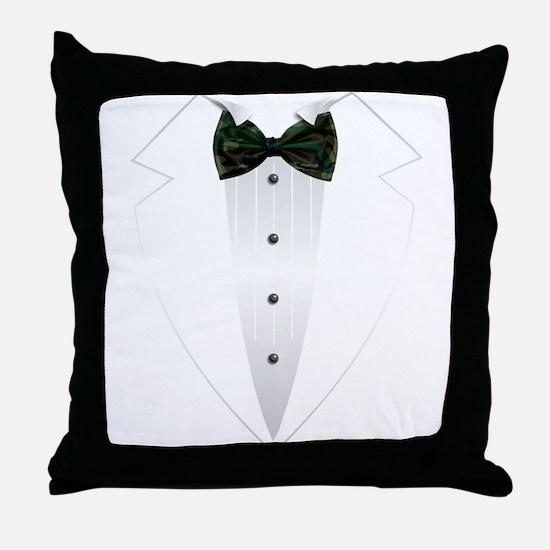 Tuxedo (woodland camo) Throw Pillow