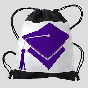 Purple Graduation Hat Drawstring Bag