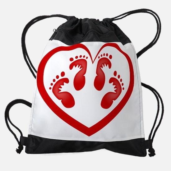 Twin Baby Footprints Red Drawstring Bag