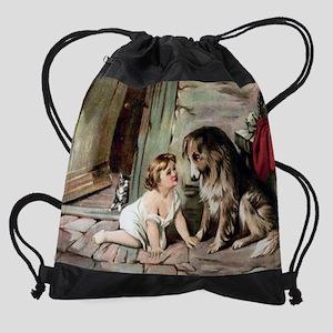 collie  cat cal Drawstring Bag