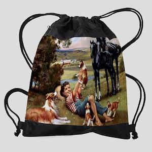 horse  puppies cal.jpg Drawstring Bag