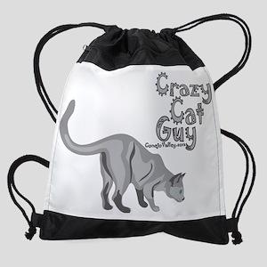 crazy cat guy_1 Drawstring Bag