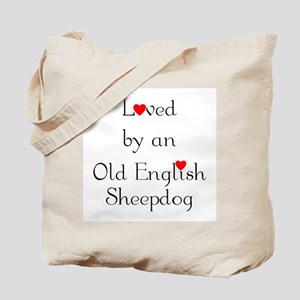 Loved by an Old English Sheepdog Tote Bag