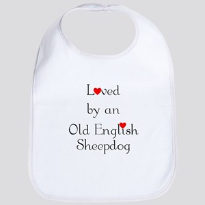 Loved by an Old English Sheepdog Bib