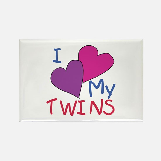 I heart my twins Rectangle Magnet