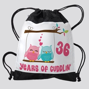 36th Anniversary Owl Couple Drawstring Bag