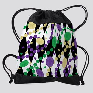 Mardis Gras Beads Drawstring Bag