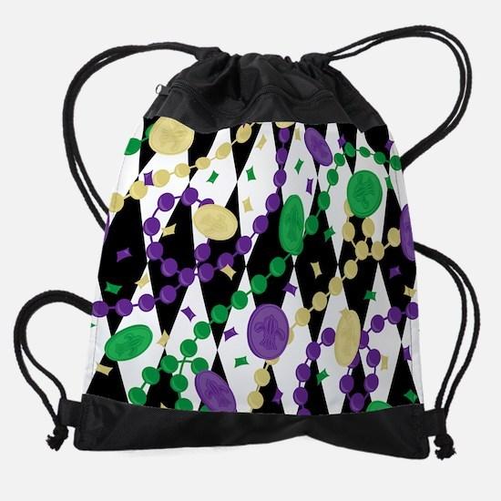 Mardis Gras Beads Drawstring Bag