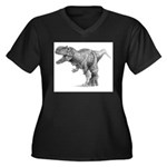 T Rex Black and Whie Plus Size T-Shirt