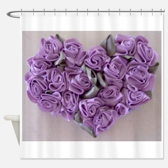 Lilac Ribbon Roses Heart Shower Curtain