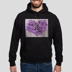 Lilac Ribbon Roses Heart Hoodie