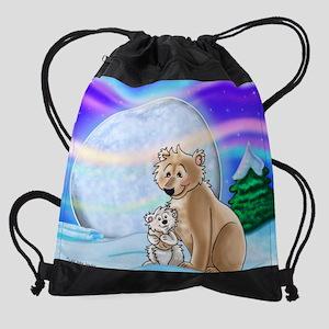 Polar Bear Nights Drawstring Bag
