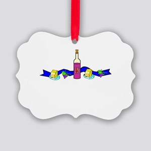 wine and cheese banner Picture Ornament