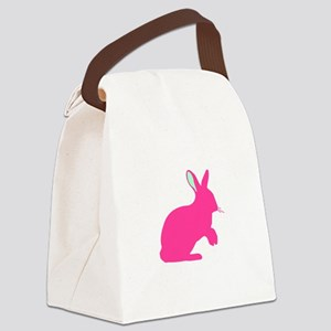 pink bunny silhouette Canvas Lunch Bag