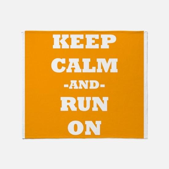 Keep Calm And Run On (Orange) Throw Blanket