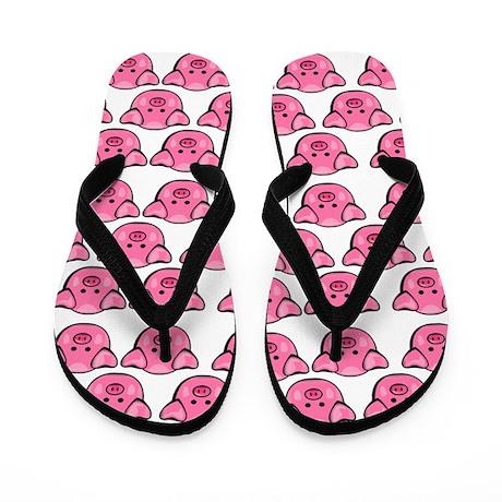 Cute Pink Pigs Flip Flops
